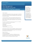 Risk Management Data Warehousing & BI