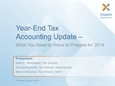 Year-End Tax Accounting Update - What You Need to Know to Prepare for 2014